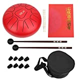 Hand Drum,10in 11 Tones Steel Titanium Alloy Drumpan D Tone Hand Tankdrum Pan Drum with Non-Slip Foot Kit for Camping, Yoga, Music Therapy(Red)