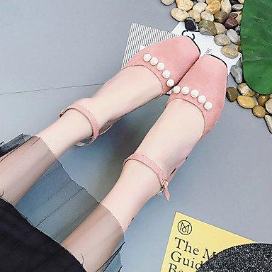 Dress CN36 Novelty Heel Women'sSandals EU36 Fabric US6 Summer Fleece Chunky Wedding Spandex Casual UK4 Buckle Pearl Comfort Spring qq4HxT8