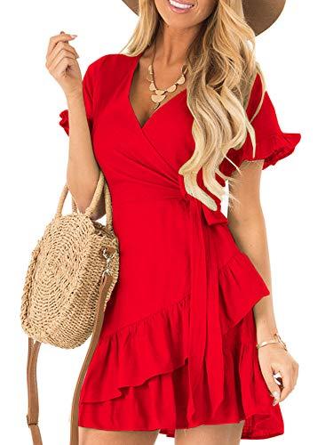 Kathemoi Womens Ruffle Dresses Summer Cute V Neck Short Sleeve Beach Wrap Mini Dress Red
