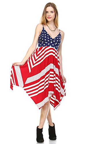 Zoozie LA Women's American Flag Dress USA National Star Stripes Patterns