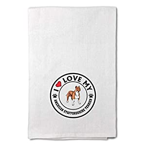 Custom Decor Flour Kitchen Towels Love American Staffordshire Terrier Dog A Pets Dogs Cleaning Supplies Dish Towels Design Only 19