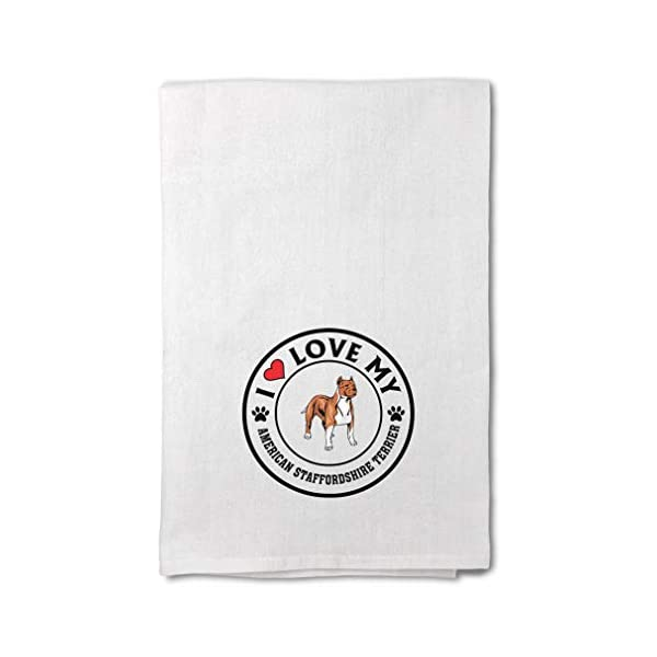 Custom Decor Flour Kitchen Towels Love American Staffordshire Terrier Dog A Pets Dogs Cleaning Supplies Dish Towels Design Only 1