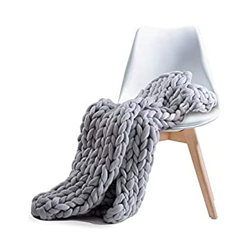 Chunky Knit Blanket Acrylic Yarn Throw, Pawaca Super Large Hand-Made Bulky Baby Kid Bed Sofa Chair Soft Throw, King Queen Size Knitting Thick Yarn Pet Bedroom Chair Wool Mat Rug Grey 40x47/40x59