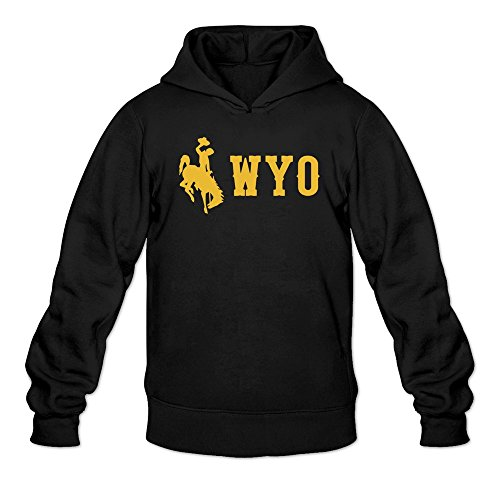 Moniz Mens Laramie Yellow Wyo Logo Wyoming Cowboys Sweatshirts Black