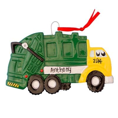 Garbage Truck Toy Personalized Ornament - (Unique Christmas Tree Ornament - Classic Decor for A Holiday Party - Custom Decorations for Family Kids Baby Military Sports Or Pets)]()