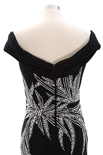 Beaded The Bride Of Mother Shoulder Women Macloth Gown Off Black Jersey Evening Dress t1Hcpw