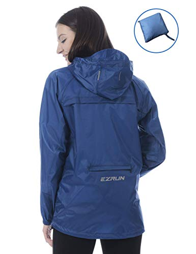 EZRUN Women's Waterproof Hooded Rain Jacket Windbreaker Lightweight Packable Rain Coats(Blue,s) (Best Travel Gear For Women)