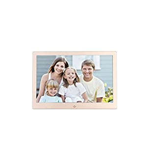 Becoler Ultra-thin Narrow 12-inch Metal Digital Photo Frame High-definition LED Electronic Album Advertising Machine Gold