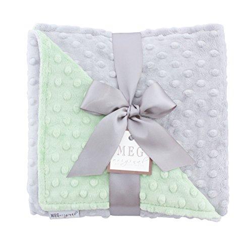 MEG Original Minky Dot Baby Blanket Green/Gray ()