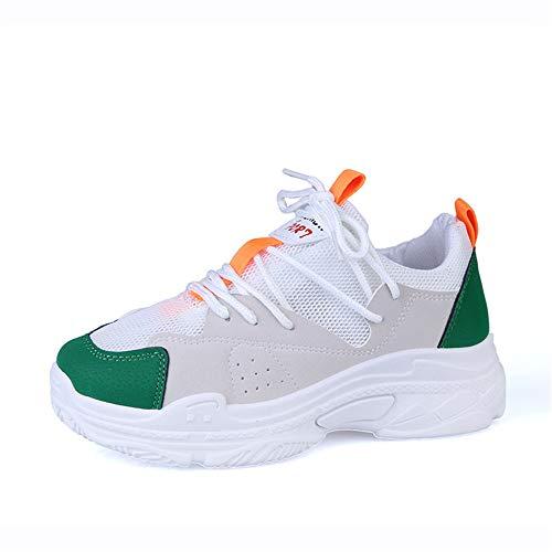 para Mesh Breathable elevadas Mujer 2 38 Verde Zapatillas tamaño Sneakers Verde de Color 3 EU Deporte FangYOU1314 wIXx0q4Ux