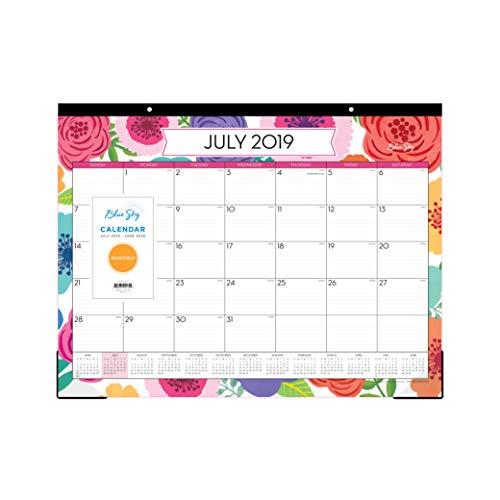 "Blue Sky 2019-2020 Academic Year Monthly Desk Pad Calendar, Ruled Blocks, 22"" x 17"", Mahalo"