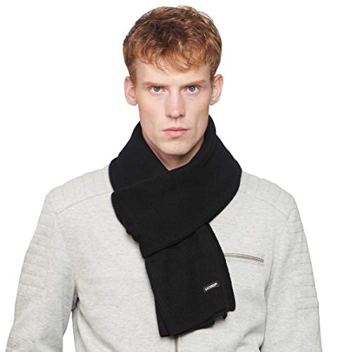 CACUSS Men's Solid Cold Winter Warm Scarf Soft Knitted Neckwear Cotton Scarves -