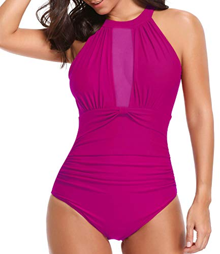 Tempt Me Women One Piece High Neck V-Neckline Mesh Ruched Monokini Swimwear Rose Red M by Tempt Me