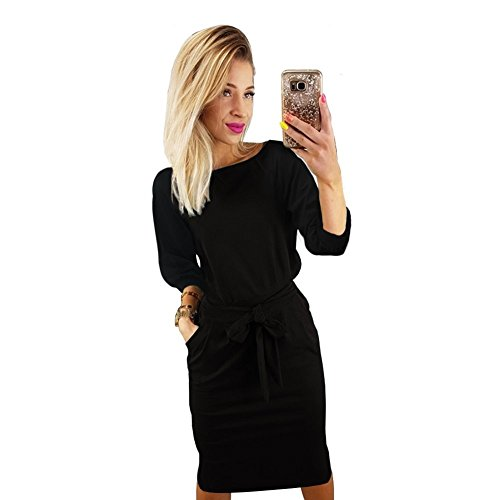 Longwu Women's Elegant Lantern Sleeve Wear to Work Casual Pencil Dress with Belt Black-M]()
