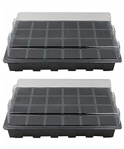 Petforu - Juego de 2 bandejas de germinación para plantas, 24 unidades, color negro