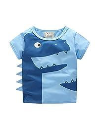Baby Boy Tees Cotton Short Sleeve Round Neck Printing Dinosaur T-Shirt