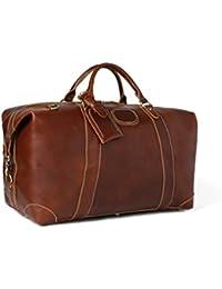Vintage Look Men's Leather Weekender Duffel Bag Luggage Holdall