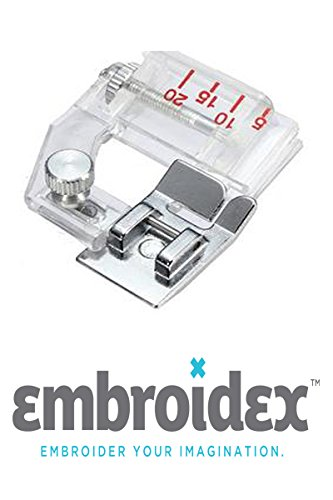 Embroidex Bias Tape Binding Sewing Machine Presser Foot - Fits All Low Shank Sewing Machines Brother Babylock Janome Juki New Home Adjustable Bias Binder Foot