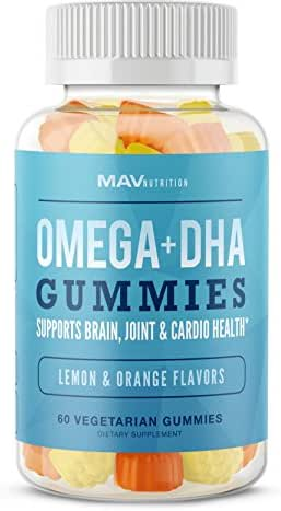 MAV Nutrition Fish Oil Omega 3 Gummies as DHA + Brain Supplement, Natural Flavors, Non-GMO, Vegetarian Friendly, 60 Count