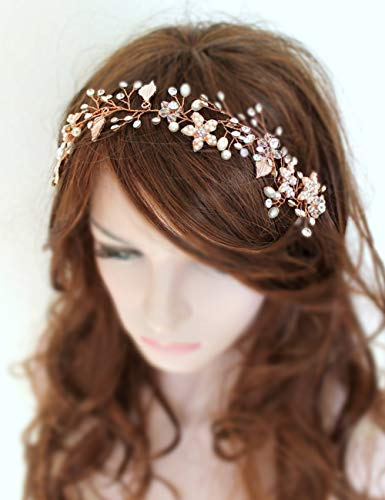 Missgrace Bridal Rose Gold Crystal and Beads Headband