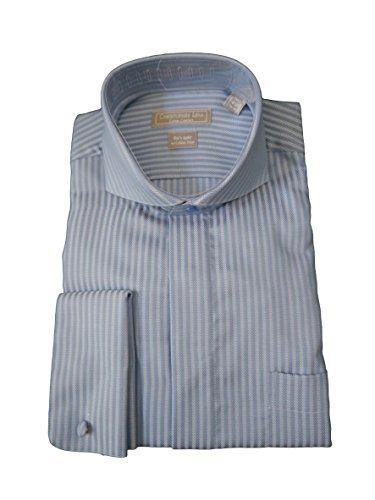 - Christopher Lena Men's Wrinkle Free Herringbone Stripe Cutaway Collar Dress Shirt - Blue (17 1/2 - 36-37)