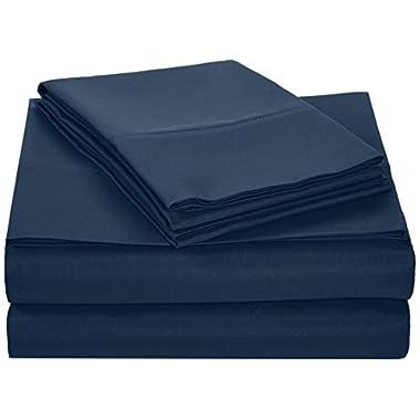 AmazonBasics Microfiber Sheet Set - King, Navy Blue