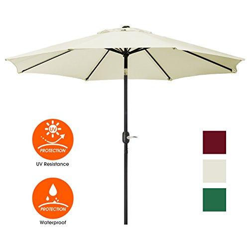 Patio Umbrella,Outside Table Umbrella with Crank and 8 AluminumRibs,100% Polyester Aluminum Alloy Pole Outdoor Patio Umbrella with Tilt Button,Fade Resistant-Water Proof Patio Table Umbrella,Ivory -