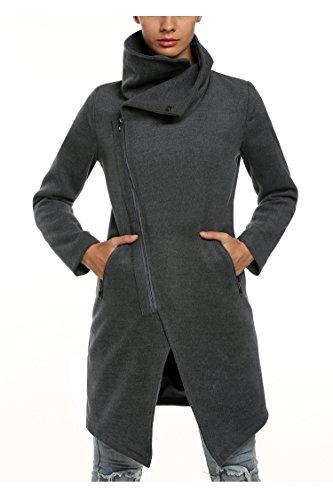 Zeagoo Women Winter Fashion Asymmetrical Long Wool Trench Coat Zip Up Jacket Gray Medium