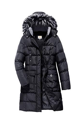 ELORA Women's Winter Puffer Mid Length Cargo Pocket Coat Fur Trim Removable Hood Black
