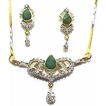 Shingar Jewelry Ksvk Jewels Cubic Zirconia (CZ) Tanmania Pendant Set For Women (9947-psad-green)