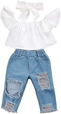 b187f3e01 Minisoya Baby Girl Off Shoulder Crop Tops Hole Denim Pant Jean Ripped  Trouser Headband Toddler Kids