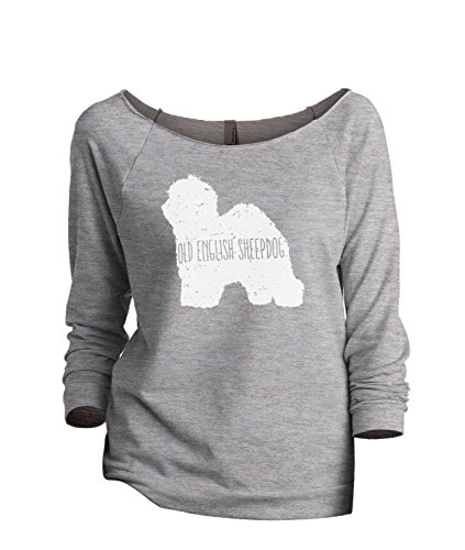 Thread Tank Old English Sheepdog Dog Silhouette Women's Slouchy 3/4 Sleeves Raglan Sweatshirt Sport Grey Medium -