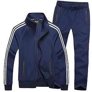 Mirecoo Uomo Casual 2 Pezzi Contrasto cavo Full Zip mette in mostra il rivestimento & pantaloni Tuta