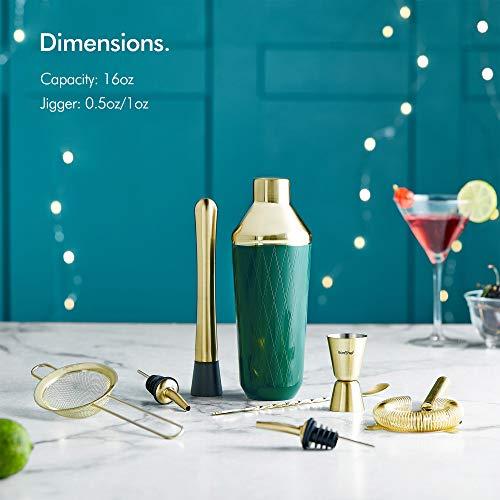 VonShef Green & Gold Cocktail Shaker Set in Gift Box with 16oz Shaker, Muddler, Bar Spoon, Jigger, Hawthorne Strainer, Julep Strainer, Bottle Pourer and Recipe Book by VonShef (Image #1)