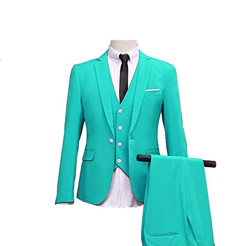 ToonySume Men's Suit Slim Fit 3 Piece Suit Blazer Two Button Tuxedo Business Wedding Party Jackets Vest&Trousers(L,Tiffany Blue) (Wedding 3 Piece Suits For Groom In India)