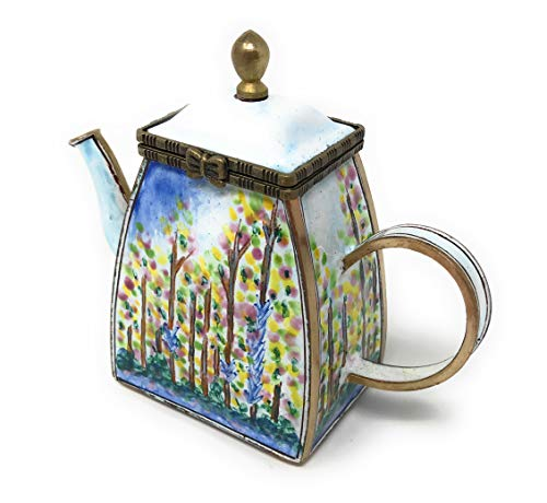 Kelvin Chen Monet Poplars Enameled Miniature Teapot with Hinged Lid, 4 Inches Long