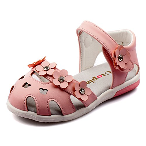 Nova Toddler Little Girls Summer Flower Sandals NF Girl NFGS10-UTOPIA Pink 10 Girls Pink Flower Sandals