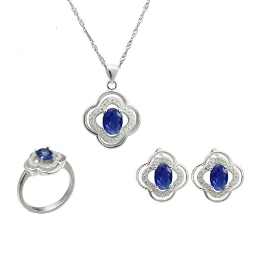 Aooaz Silver Plated Jewelry Set For Women Oval Crystal Flower Ring Necklace Earrings Blue Eternal Love by Aooaz