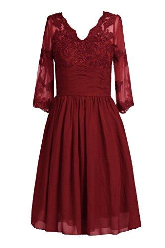 Promworld Damen Knielnge V Hals Mutter der Braut Kleid Burgundy ...