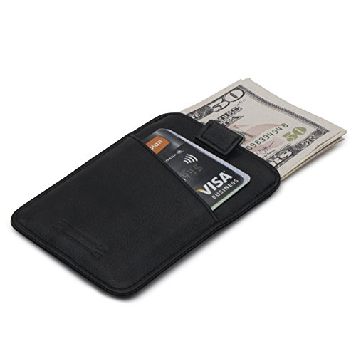 RFID Blocking Premium Top Grain Leather Slim Card Holder – Thin Minimalist Front Pocket Wallet with Pull Tab Design for Easy Access (Top Grain Black) (Pull Sleek Iron)