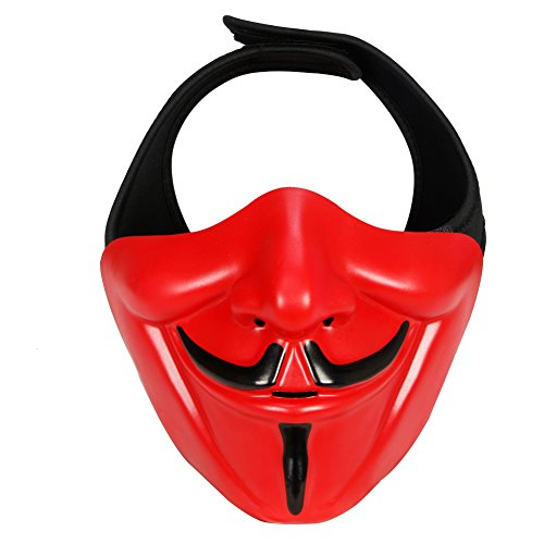 HYOUT Half Face Mask for Christmas Halloween Cosplay Costume Party Movie Prop Evil Demon Monster Kabuki Samurai Hannya Oni Protective Mask for Airsoft Paintball Hunting Shooting BB Gun CS -