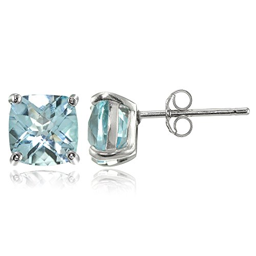 Sterling Silver 7mm Cushion-Cut Blue Topaz Stud Earrings