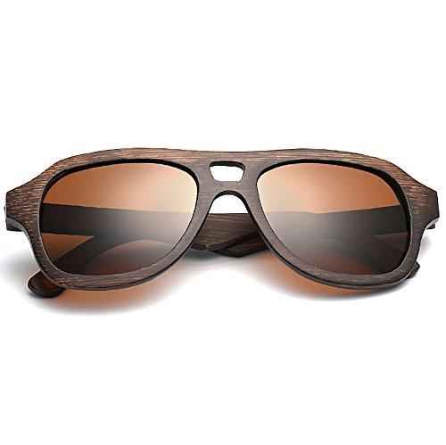piloto Aviator de Polarizado sol Gafas mano Hecho de para Gafas a mujeres madera Espejos de Marrón sol lentes de hombres 74Sx4twq