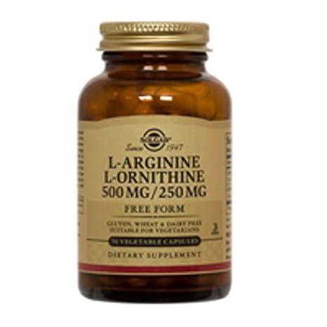 Solgar L-Arginina 500 mg/L-Ornitina Cápsulas vegetales de 250 mg - Envase de 50