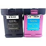 Kit Cartucho de tinta compatível Hp 122xl Preto Colorido 3050 2050