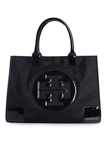 - Tory Burch Ella Nylon Patent Leather Tote Handbag in Black