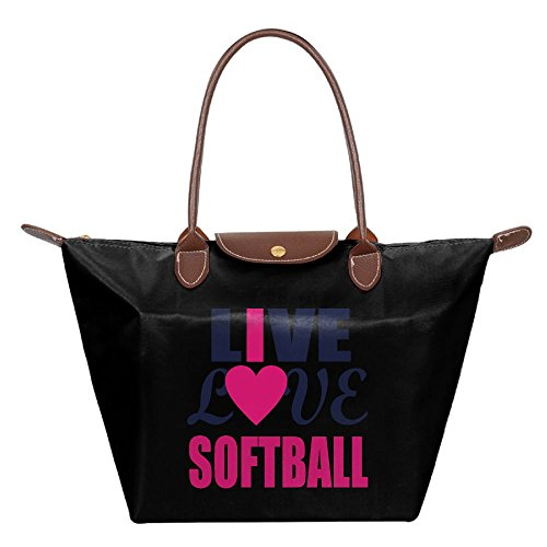 Folding Dumpling Bag Top Handle Handbag Women's Satchel Shoulder Shopping Gripesack Live Love Softball Nylon - Shopping Naperville