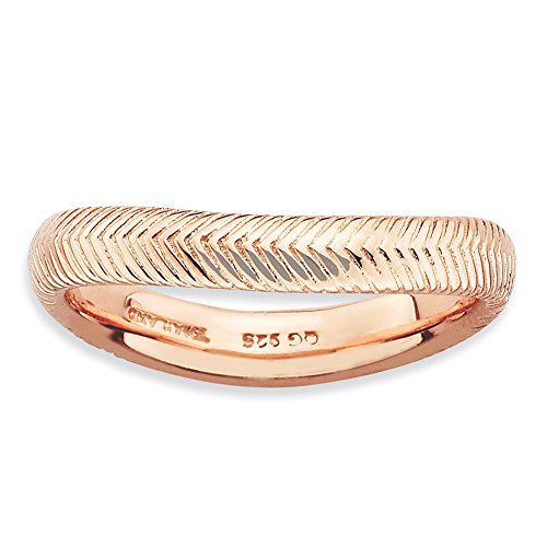 925 Sterling Silver Pink Plate Wave Band Ring Size 6.00 Stackable Curved Fine Jewelry Gifts For Women For Her from ICE CARATS