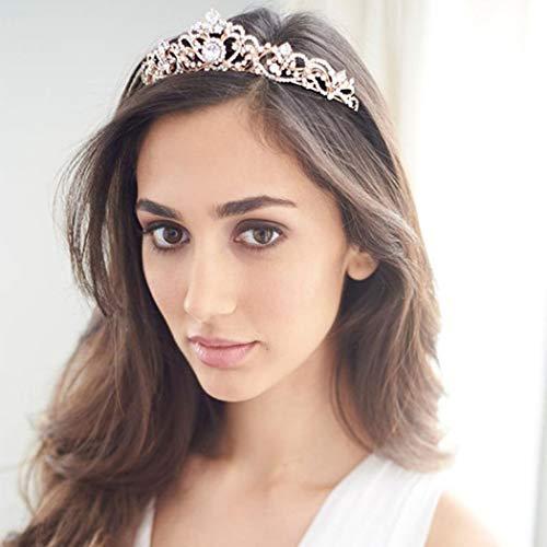 (Tgirls Rose Gold Wedding Crowns and Tiaras Bride Princess Rhinestone Headband for Women and Girls(Rose Gold))