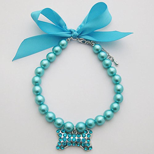 PETFAVORITES Fancy Pearls Crystal Dog Necklace Jewelry with Bling Rhinestones Big Bone Charm for Pets Cats Small Dogs Girl Teacup Chihuahua Yorkie Clothes Costume Outfits (Blue, Neck Size: 12''-14'') by PetFavorites